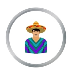 Mexican man in sombrero and poncho icon in cartoon vector image vector image
