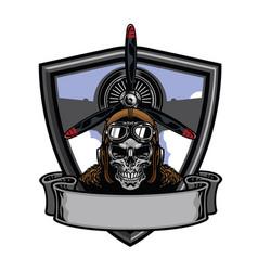 Pilot skull badge design vector