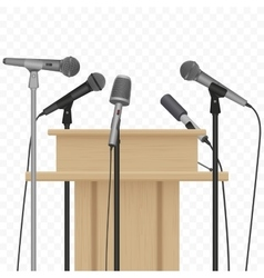 Press conference speaker podium tribune with vector image vector image