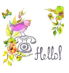 Retro graphic phone and watercolor flowers and vector