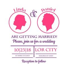 Wedding Invitation Card - Bride and Groom vector image