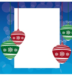 christmas balls with space advertising over blue b vector image