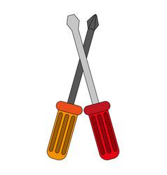 color image cartoon set screwdriver with spade tip vector image