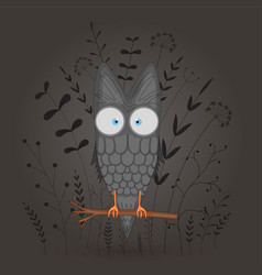 gift postcard with cartoon animal owl decorative vector image
