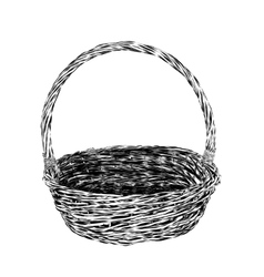 Hand drawn picnic basket isolated on white vector image vector image