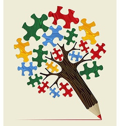 Jigsaw strategic concept pencil tree vector image vector image