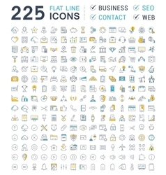 Set Flat Line Icons Business SEO WEB and vector image vector image