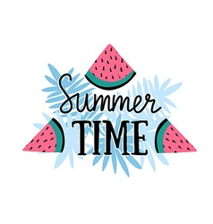 Summer background with hand drawn slices of vector