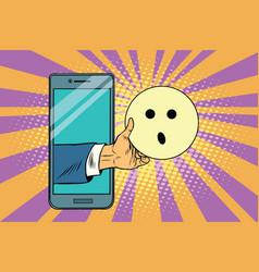 surprise emoji emoticons in smartphone vector image
