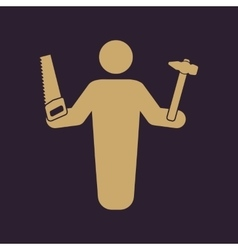 The carpenter avatar icon builder and handyman vector