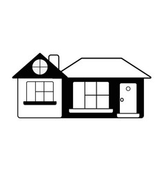contour big house with roof and windows with door vector image