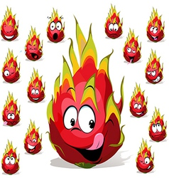 dragon fruit cartoon with many facial expressions vector image vector image