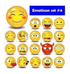 Set of cute smiley emoticons vector image vector image