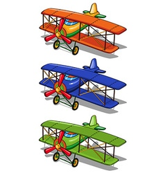 Airplane in three different colors vector image vector image