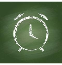 Alarm clock chalk icon on green chalkboard vector image vector image