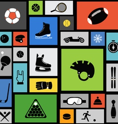 Color tile with sport icons vector image