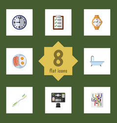 Flat icon oneday set of questionnaire timer vector