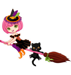 little witch on broom vector image