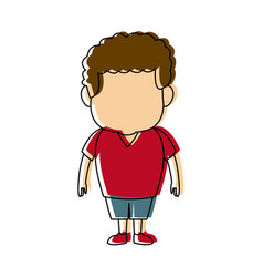 little young boy standing on white background vector image