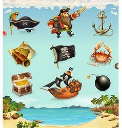 Sea pirates funny character and objects icon set vector