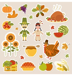Thanksgiving day icon set Flat style vector image