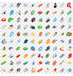 100 cyber icons set isometric 3d style vector