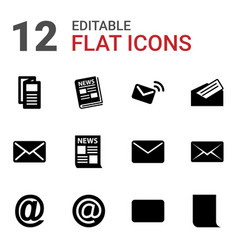 12 newsletter icons vector