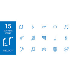 15 melody icons vector image