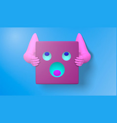 3d of a pink hand with face icons and simple vector