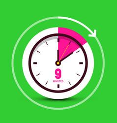 9 nine minutes time symbol clock icon vector image