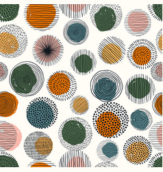 Abstract geometric seamless pattern with doodle vector