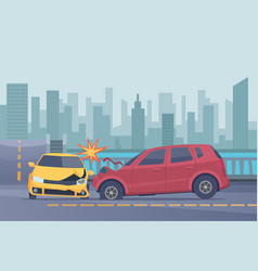 Accident road background damaged spped cars vector