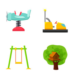 Airplane on a spring swings and other equipment vector