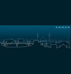 Amman multiple lines skyline and landmarks vector