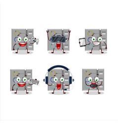Among us task machine cartoon character vector