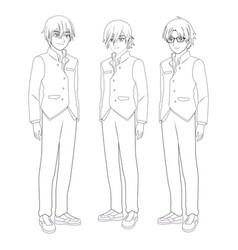 Anime manga men vector