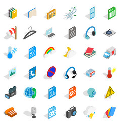 App mobile icons set isometric style vector