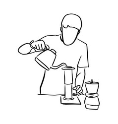 arista pouring fresh coffee through filter in vector image