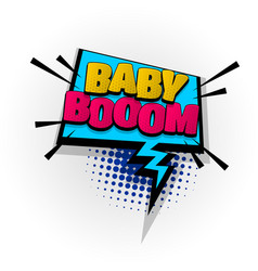 Baby boom kids zone comic book text pop art vector