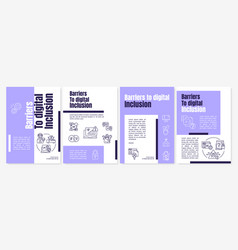 Barriers to digital inclusion brochure template vector