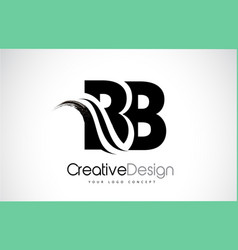 Bb b b creative brush black letters design with vector