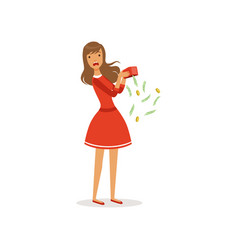 Beautiful frustrated young woman character in red vector