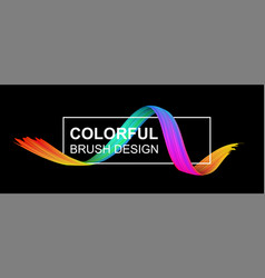 black banner with colorful abstract brush stroke vector image