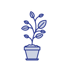 Blue silhouette of plant in flower pot vector