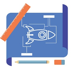 Blueprint with spaceship vector image