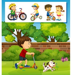 Boy playing scooter in the park vector image vector image