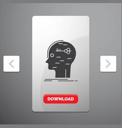 Brain hack hacking key mind glyph icon in vector