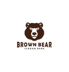brown bear head mascot logo designs vector image
