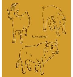 Bull goat pig vector