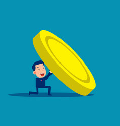 Business people try to raise a large coin vector